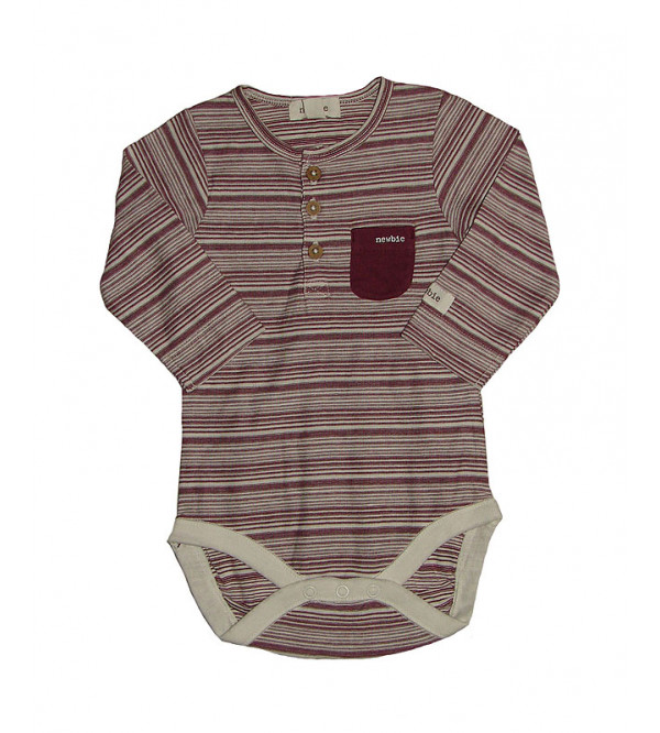Baby Long Sleeve Henley Striped Rompers