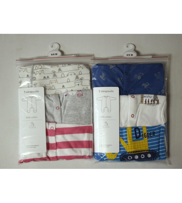 '6-9 months' Baby 3 pack Sleepsuits Assorted