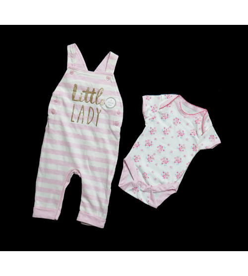 Baby Girls Dungaree Bodysuit Set