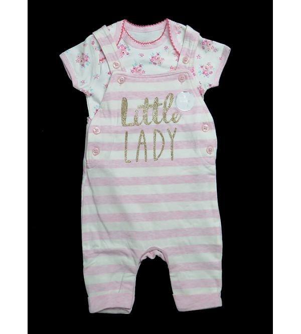 Baby Girls Dungaree Bodysuit Set