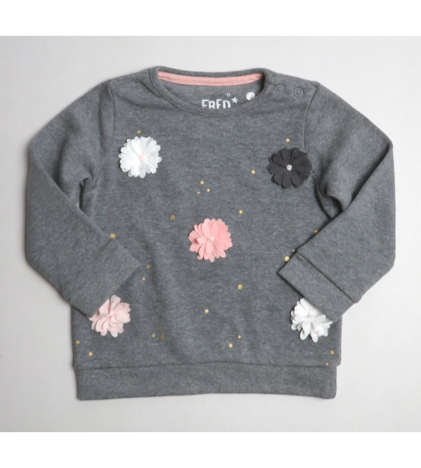 Baby Girls Fleece Sweatshirt With Applique