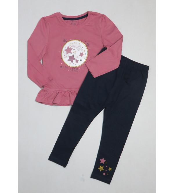 Baby Girls Glitter Printed 2 Pcs Set (T Shirt + Leggings)