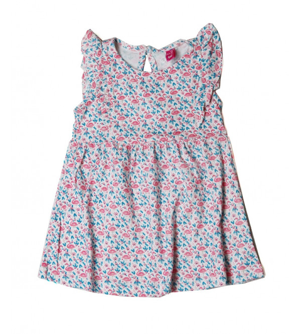 Flamingo Printed Baby Girls Dress