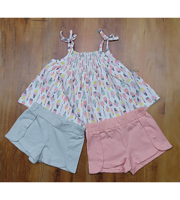 Baby Girls 3 Pc Set (Strappy Top + 2 Shorts)