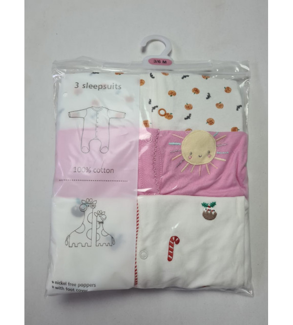 '24-36 months' Babies 3 pack Sleepsuits Assorted