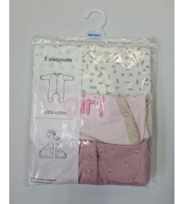 '3-6 months' Babies 3 pack Sleepsuits Assorted
