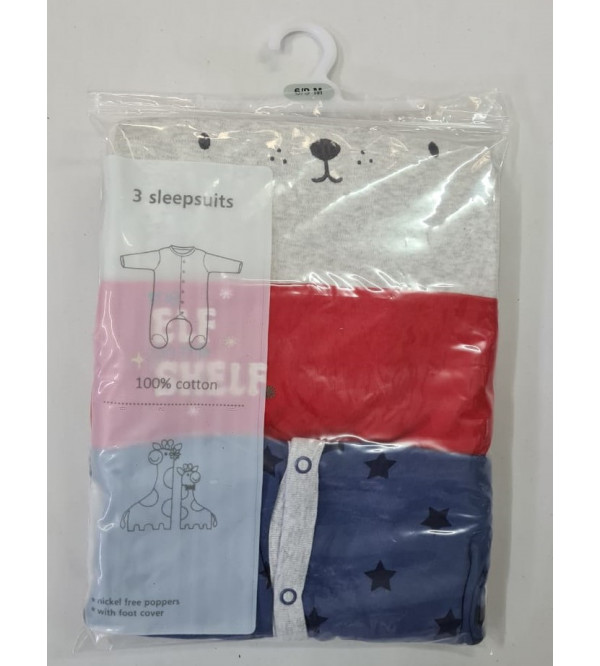 Babies 3 pack Sleepsuits Assorted