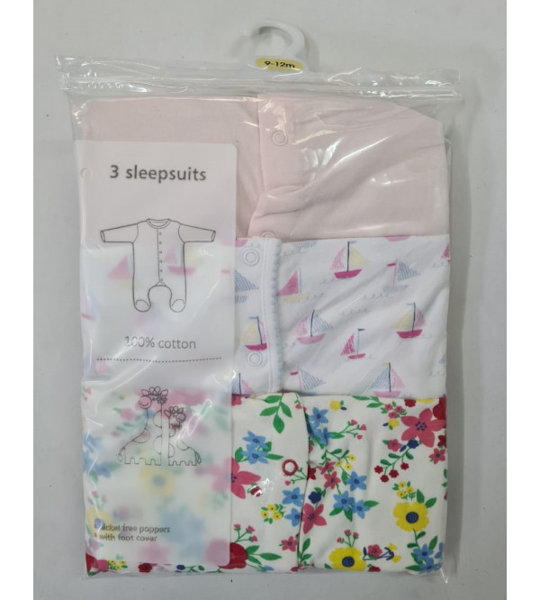 '1 month' Babies 3 pack Sleepsuits Assorted