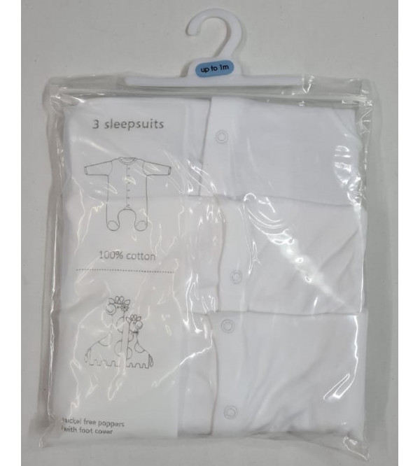 Babies 3 pack White Sleepsuits
