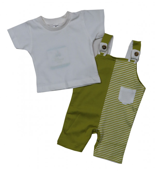 Baby Boys n Girls 2 pc set Dungaree and Tee