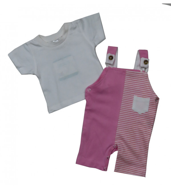 Baby Girls 2 pc set Dungaree and Tee