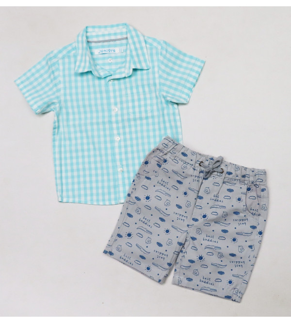 Baby Boys Woven 2 pc Set (Shirt + Shorts)