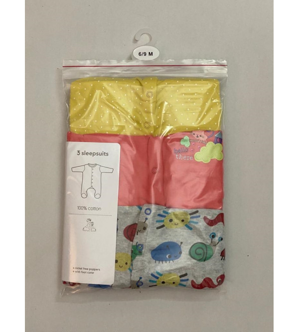 '6-9 Month' Baby 3 pack Sleepsuits Assorted