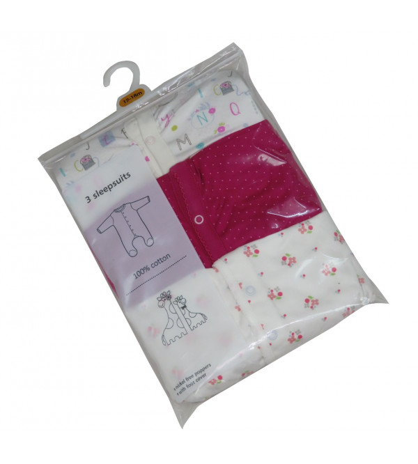 Baby 3 pack Sleepsuits Assorted
