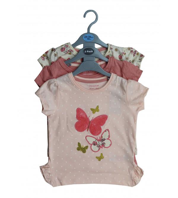 Baby Girls Printed T Shirts 3 pack