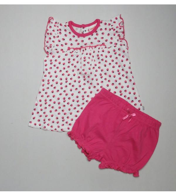 Baby Girls Printed 2 pcs Set (T Shirt + Shorts)