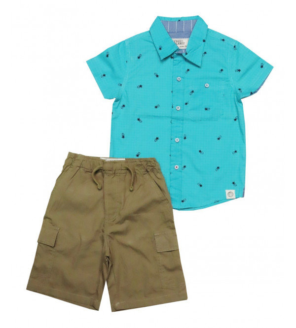 Boys 2 pcs Set Woven Shirt + Woven Shorts