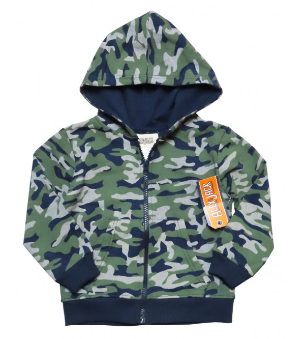 Boys Camo Printed Full Zipper Sweatshirt