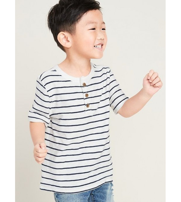 Old Navy Boys Striped Henley Neck Tee