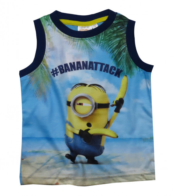 Minion Sublimation Printed Boys Muscle T Shirt