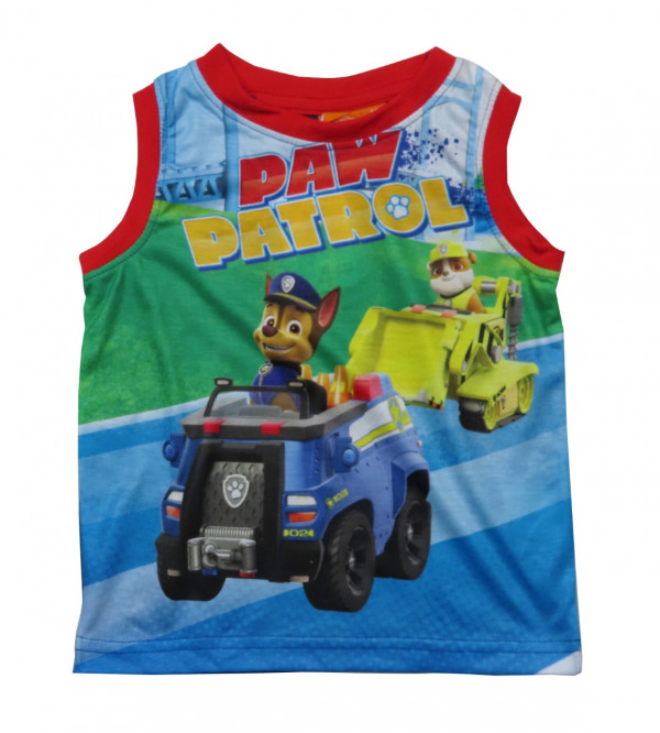 Paw Patrol Sublimation Printed Boys Muscle T Shirt