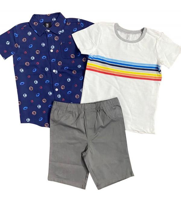 Boys 3 pcs Set (Shirt + T Shirt +  Shorts)