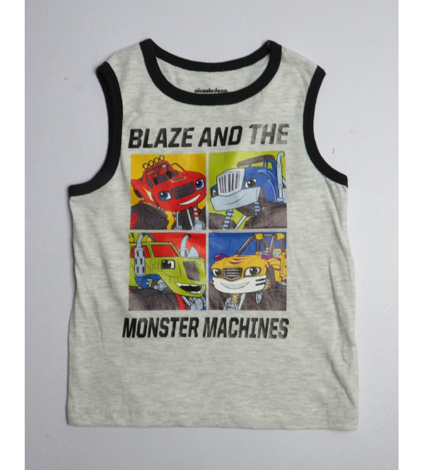 Character Printed Boys Sleeveless T Shirts