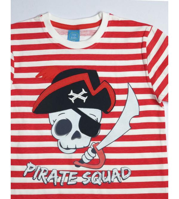 PIRATE SQUAD Boys Applique T Shirt
