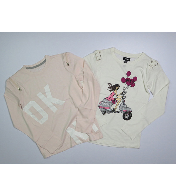 DKNY Girls Long Sleeve Printed T Shirts Assorted