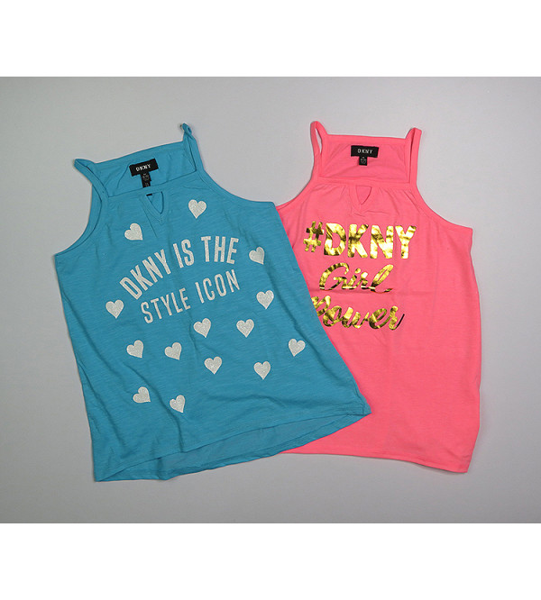 DKNY Girls Sleeveless Printed T Shirts Assorted