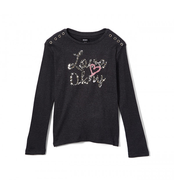 DKNY Girls Long Sleeve Sequinned T Shirts Assorted