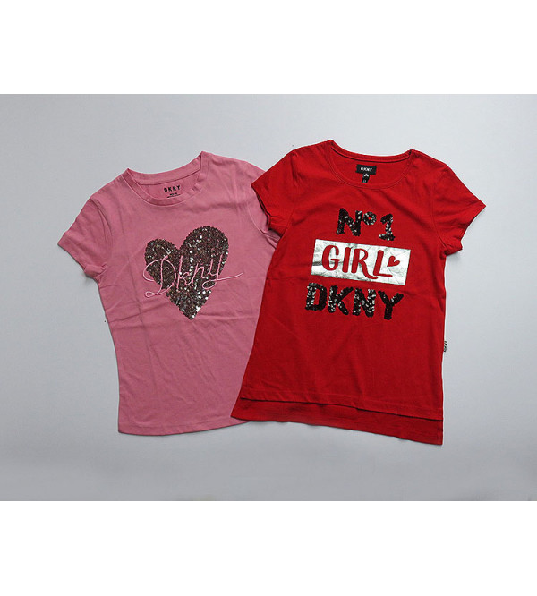 DKNY Girls Sequinned T Shirts Assorted