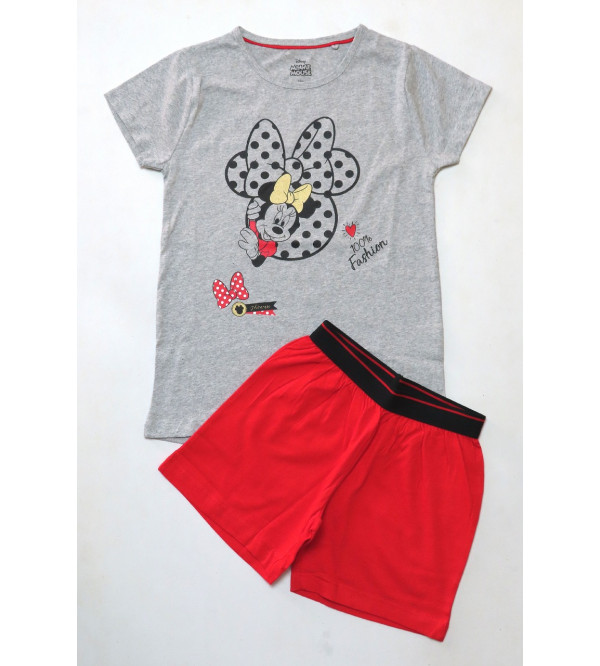 Minnie Mouse Girls Printed Shorty Pyjama Set