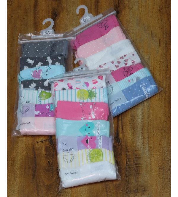 Girls Printed 7 pack Briefs