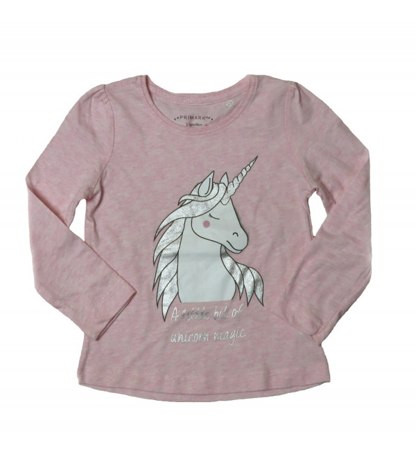 Unicorn Glitter Printed Girls T Shirt