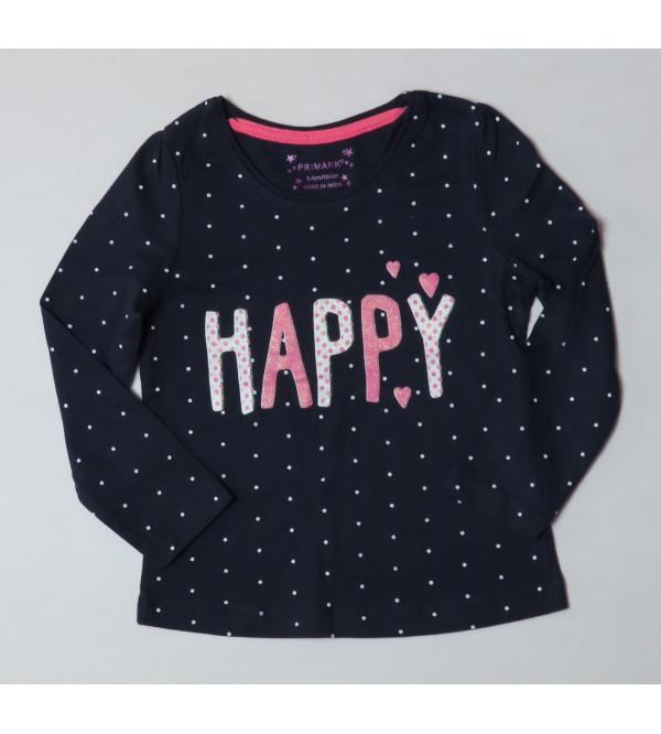 HAPPY Glitter Printed Girls T Shirt