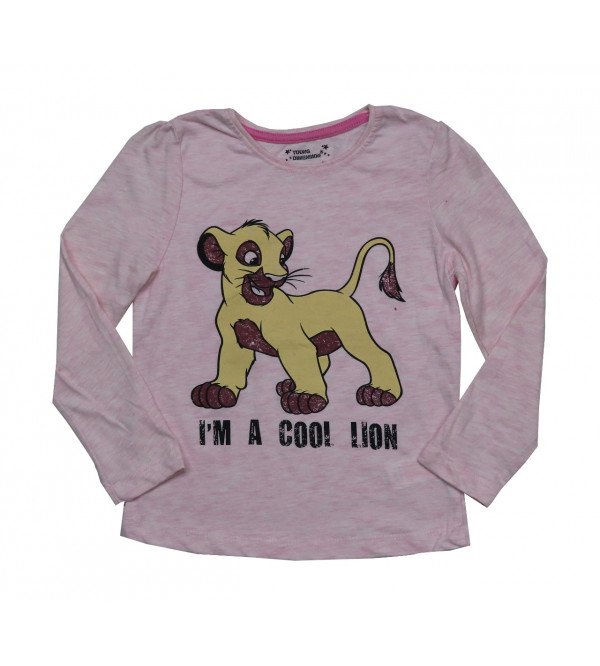 Cool Lion Girls Glitter Printed T Shirt