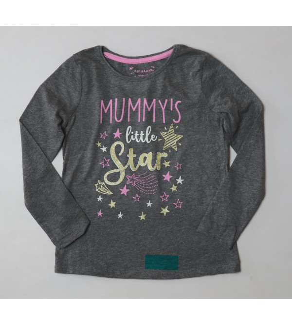 LITTLE STAR Glitter Printed Girls T Shirt