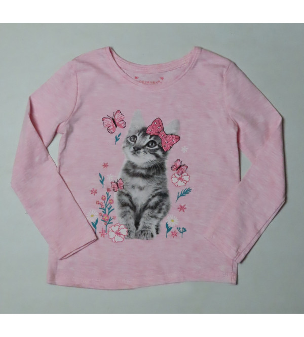Kitten Glitter Printed Girls T Shirt