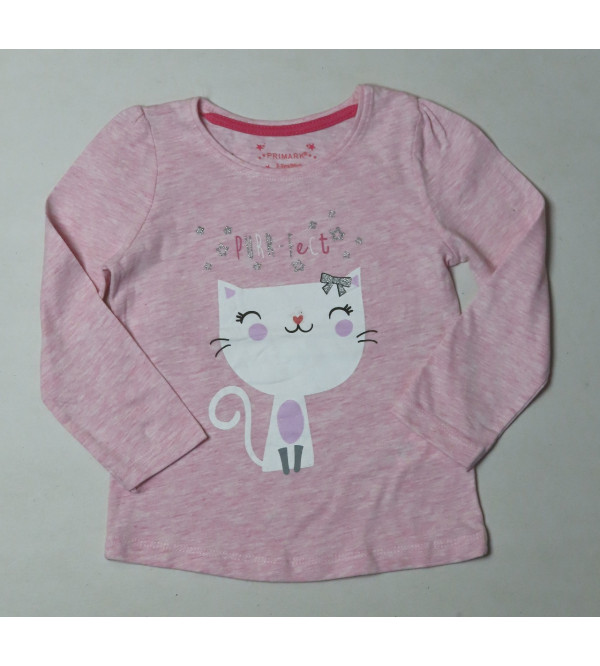 PURR-FECT Glitter Printed Girls T Shirt