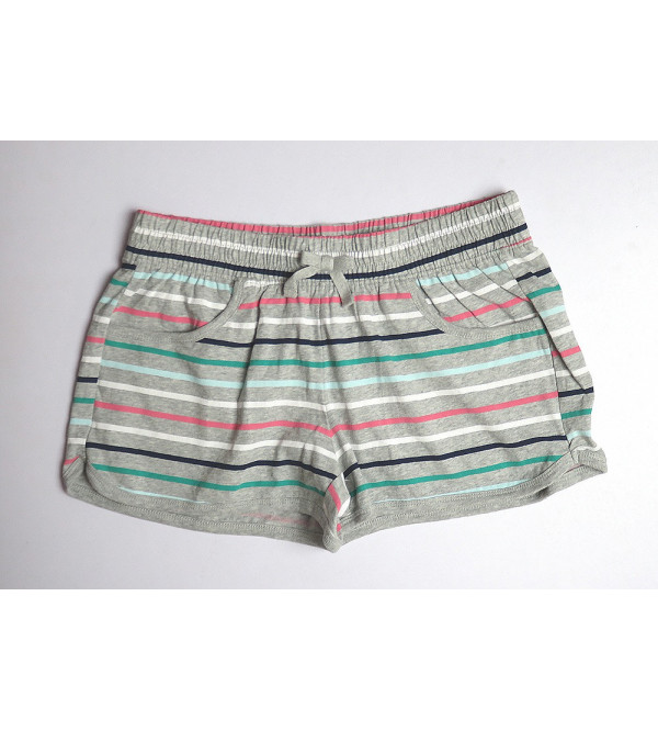 Multi Striped Girls Knit Hot Shorts