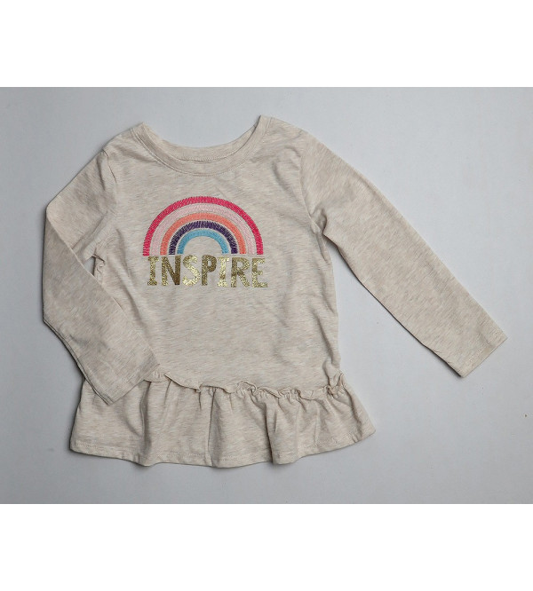 Girls Glitter Printed Top With Applique