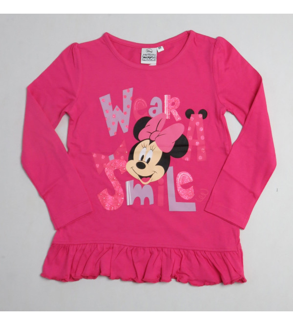 Minnie Mouse Girls Glitter Printed T Shirt