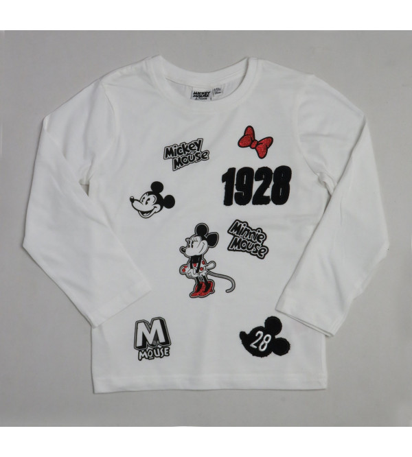 Mickey Mouse Girls Applique T Shirt