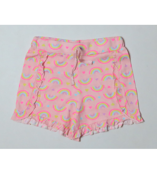 Girls Knit Shorts With Frill Trims