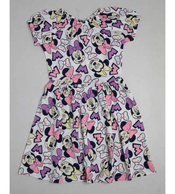 Minnie Mouse Printed Girls Knit Dress