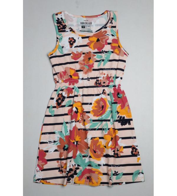 Girls Sleeveless Printed Dress