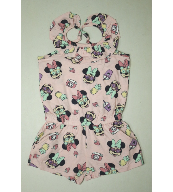 Minnie Mouse Girls Printed Dungaree