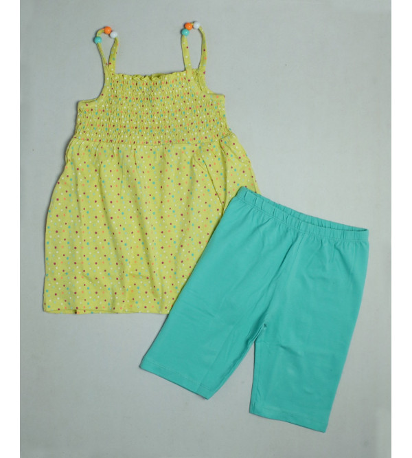 Girls Printed 2 pcs Set (Beaded Strappy Top+Shorts)