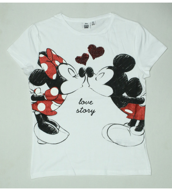 Mickey Mouse Girls Printed n Sequinned T Shirt